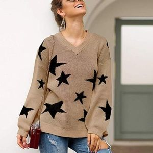 INONIA Star Print V-Neck Sweater